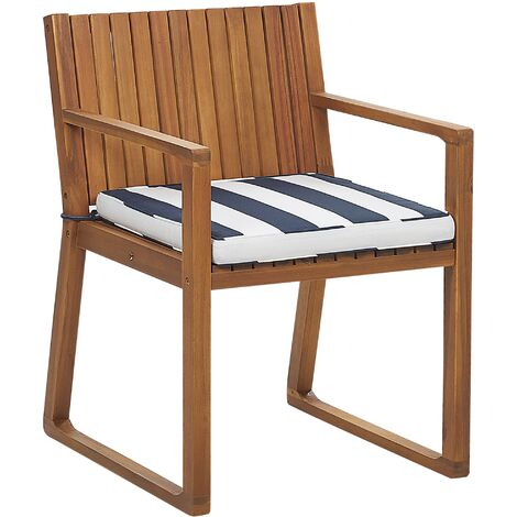 Garden Dining Chair with Cushion Navy Blue and White SASSARI