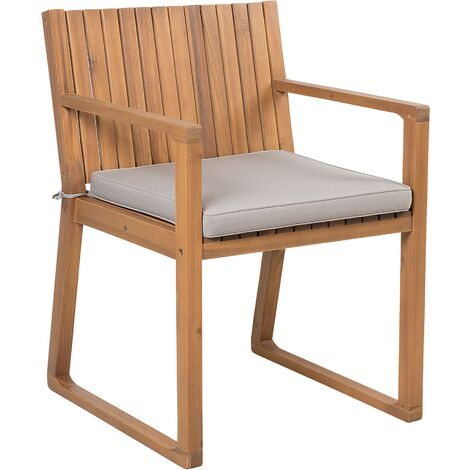 Garden Dining Chair with Cushion Taupe SASSARI