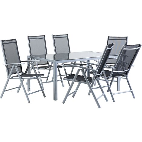 Garden Dining Set Black CATANIA