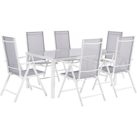"main image of ""Garden Dining Set Grey Aluminium Frame 6 Folding Chairs 1 Table Catania"""