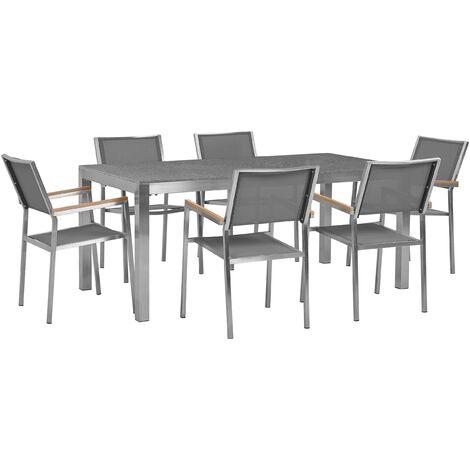 Garden Dining Set Grey Granite Top 180x90 cm Table 6 Grey Chairs Grosseto