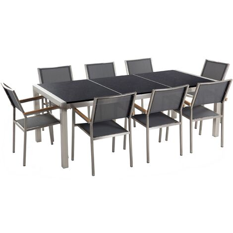 Garden Dining Set Grey Granite Triple Plate Tabletop 8 Grey Chairs Grosseto