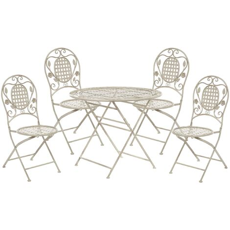 """main image of """"Garden Dining Set Metal Table 4 Chairs Foldable Distressed Off-White Bovio"""""""