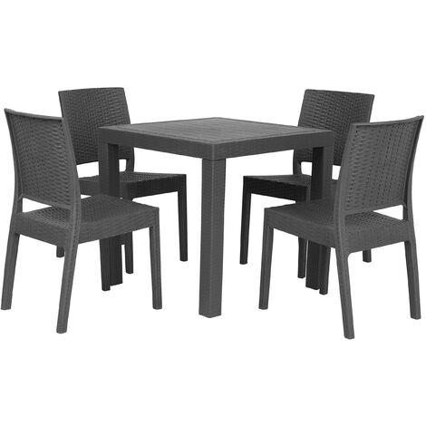 Garden Dining Set Table 4 Chairs Garden Grey Terrace Plastic Fossano