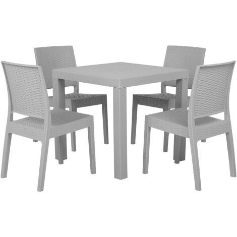 Garden Dining Set Table 4 Chairs Garden Light Grey Terrace Plastic Fossano