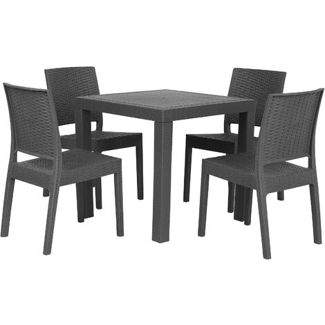 """main image of """"Garden Dining Set Table 4 Stackable Chairs Outdoor Terrace Grey Fossano"""""""