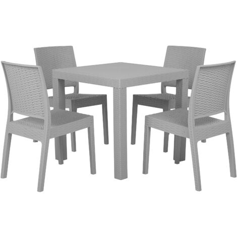 """main image of """"Garden Dining Set Table 4 Stackable Chairs Outdoor Terrace Light Grey Fossano"""""""