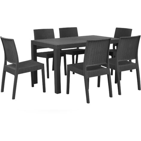 Garden Dining Set Table 6 Stackable Chairs Outdoor Terrace Grey Fossano