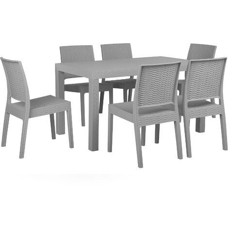 """main image of """"Garden Dining Set Table 6 Stackable Chairs Outdoor Terrace Light Grey Fossano"""""""