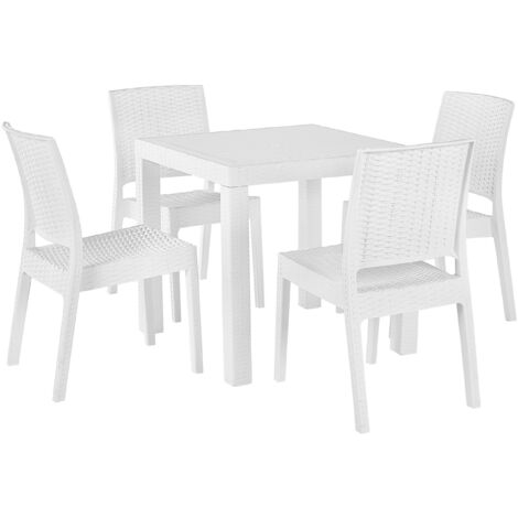 """main image of """"Garden Dining Set Table 6 Stackable Chairs Outdoor Terrace White Fossano"""""""