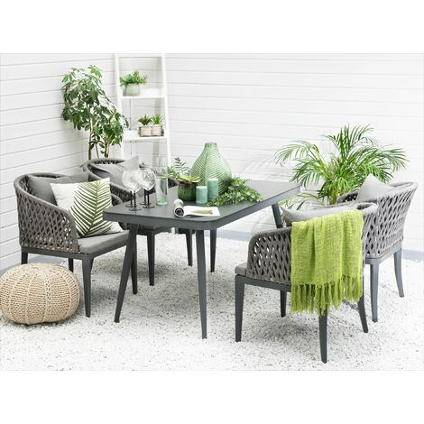 Garden Dining Table 140 x 80 cm Grey LIPARI