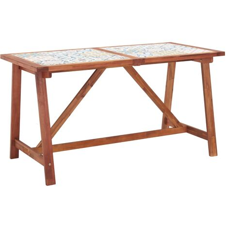 Garden Dining Table 140x70x75 cm Tile Top and Solid Acacia Wood