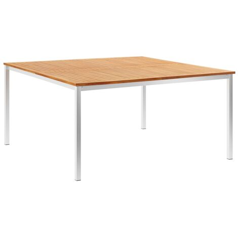 Garden Dining Table 150x150x75 cm Solid Teak Wood and Stainless Steel - Brown