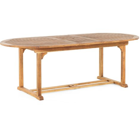 Garden Dining Table 180-220 x 100 cm Light Wood JAVA