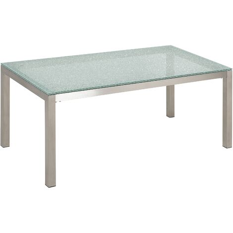 Garden Dining Table 180 x 90 cm with Glass Top GROSSETO