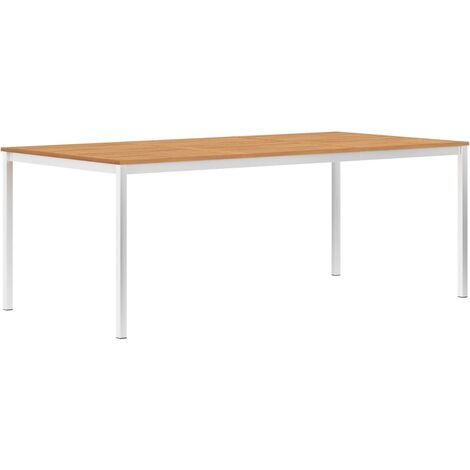Garden Dining Table 200x100x75 cm Solid Teak Wood and Stainless Steel