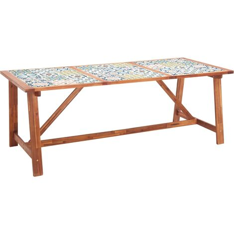 Garden Dining Table 206x90x75 cm Tile Top and Solid Acacia Wood