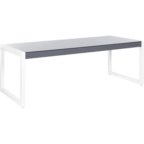 Garden Dining Table 210 x 90 cm Grey with White BACOLI