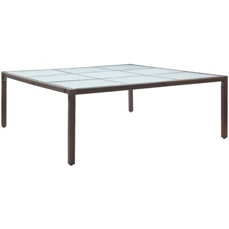 Garden Dining Table Brown 200x200x74 cm Poly Rattan