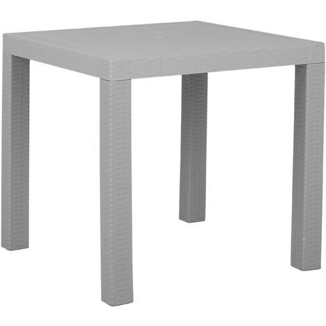 Garden Dining Table for 4 Outdoor Light Grey Terrace Patio Plastic Fossano