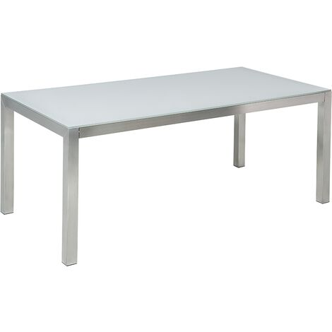 Garden Dining Table Glass Top 180 x 90 cm White GROSSETO