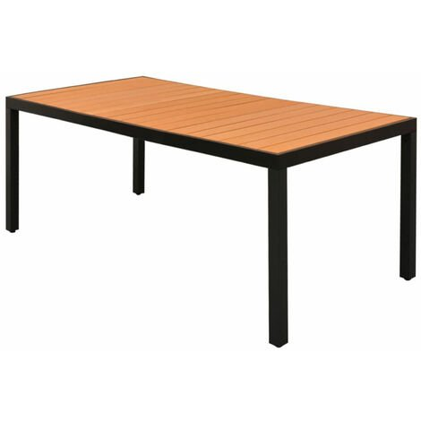 Garden Dining Table WPC Aluminium 185x90x74 cm Brown