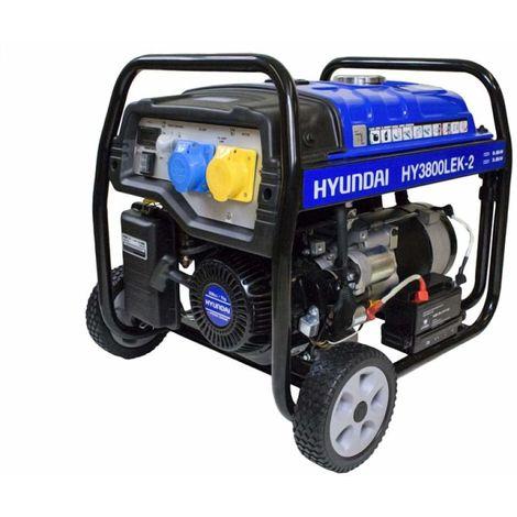 "main image of ""Garden Equipment - Hyundai HY3800LEK-2 3.2kW / 4.00kVa* Recoil Start Site Petrol Generator"""