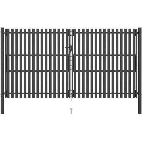 Garden Fence Gate Steel 4x2.5 m Anthracite - Anthracite