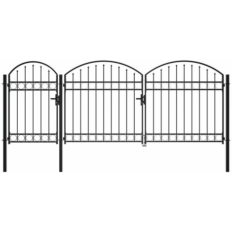 Garden Fence Gate with Arched Top Steel 1.75x4 m Black - Black