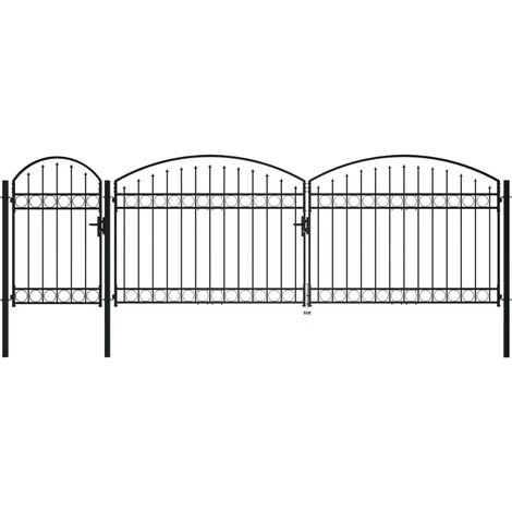 Garden Fence Gate with Arched Top Steel 1.75x5 m Black