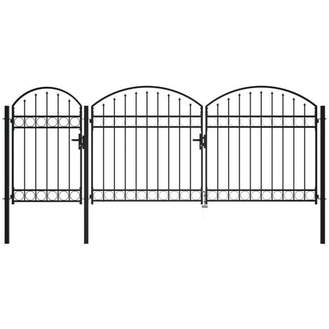 Garden Fence Gate with Arched Top Steel 2.25x4 m Black