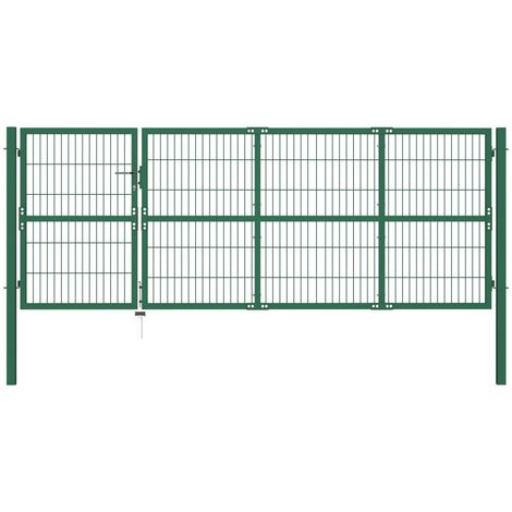 Garden Fence Gate with Posts 350x120 cm Steel Green