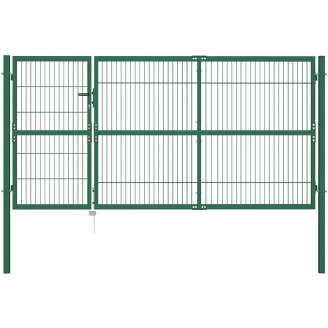 Garden Fence Gate with Posts 350x140 cm Steel Green - Green
