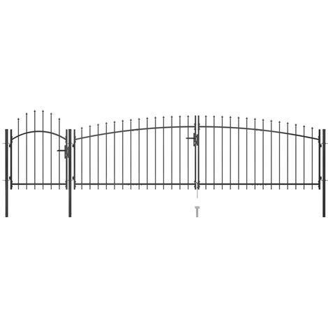 Garden Fence Gate with Spear Top 5x1.5 m Black