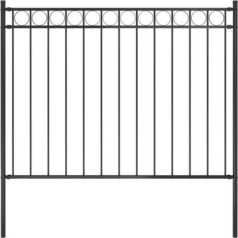 Garden Fence Steel 1.7x1 m Black