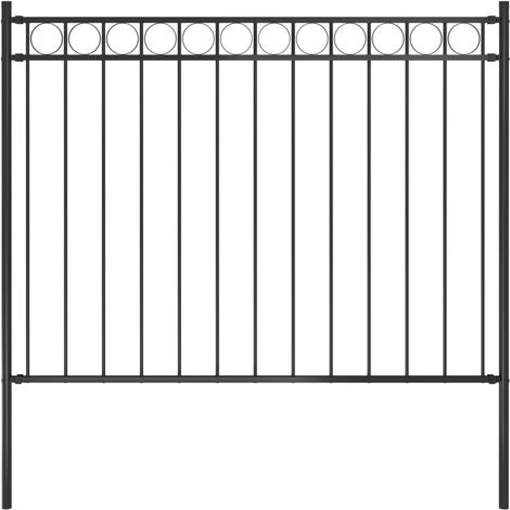 Garden Fence Steel 1.7x1.2 m Black