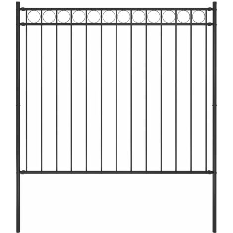 Garden Fence Steel 1.7x1.5 m Black