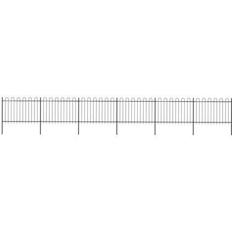 Garden Fence with Hoop Top Steel 10.2x1.2 m Black