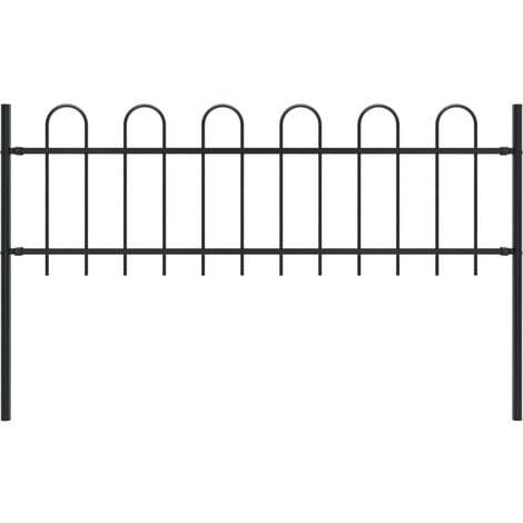 Garden Fence with Hoop Top Steel 1.7x0.6 m Black