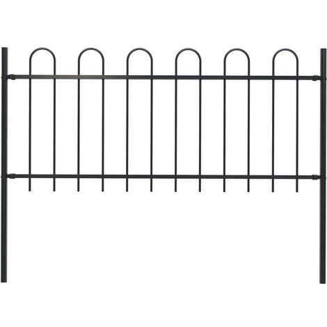 Garden Fence with Hoop Top Steel 1.7x0.8 m Black