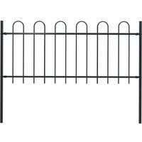 Garden Fence with Hoop Top Steel 1.7x1 m Black
