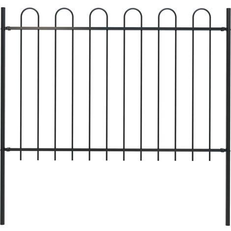 Garden Fence with Hoop Top Steel 1.7x1.2 m Black