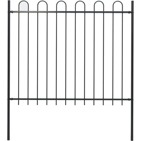 Garden Fence with Hoop Top Steel 1.7x1.5 m Black