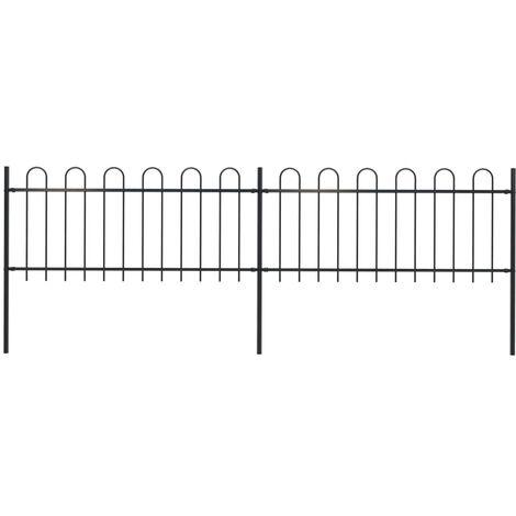 Garden Fence with Hoop Top Steel 3.4x0.8 m Black
