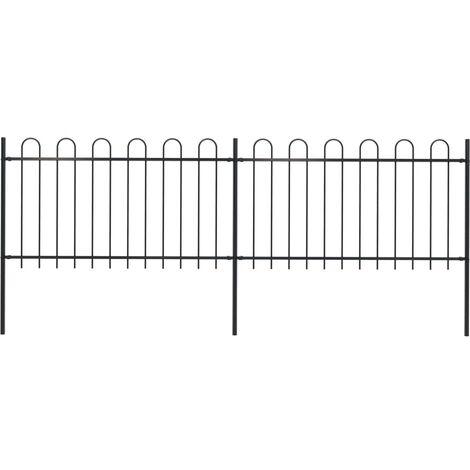 Garden Fence with Hoop Top Steel 3.4x1 m Black