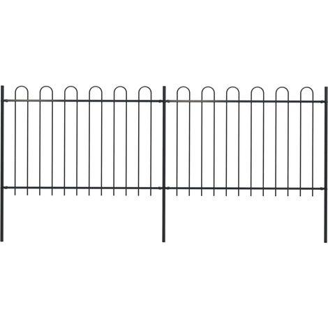 Garden Fence with Hoop Top Steel 3.4x1.2 m Black