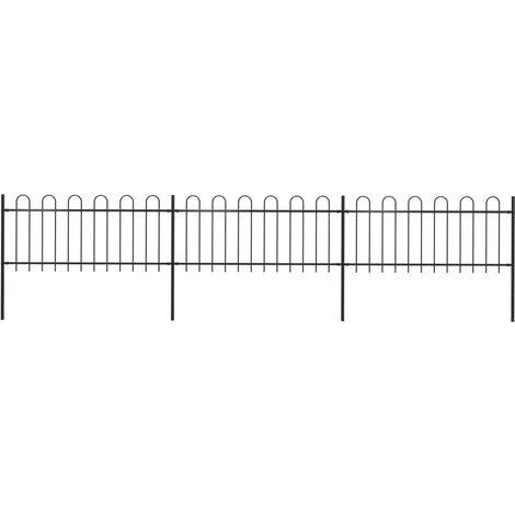 Garden Fence with Hoop Top Steel 5.1x0.8 m Black