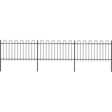 Garden Fence with Hoop Top Steel 5.1x1 m Black