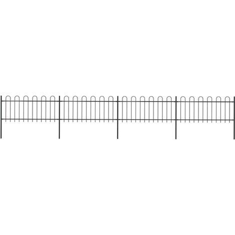 Garden Fence with Hoop Top Steel 6.8x0.8 m Black