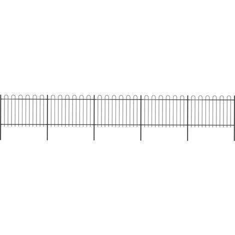Garden Fence with Hoop Top Steel 8.5x1.2 m Black
